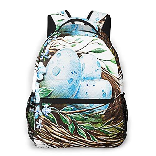 OMQFEW Mochilas Portatil 14 Pulgadas, Resistente Al Agua Casual Mochila, Multifuncional Mochila De Gran Capacidad para Hombre Mujer Escolar Trabajo Viajes Nido De Pascua Aves Huevos