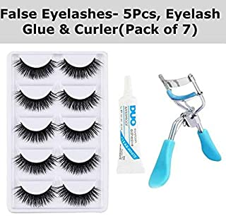 RTB False 5 Pieces Eyelashes with Eyelash Glue and Eyelash Curler (Black) Pack of 7