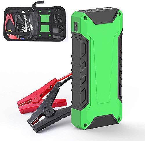 Metdek Cargador de arranque para coche, 5 litros, cargador inteligente IC de repuesto y arrancador portátil externo de 16000 mAh y 600 A con doble carga USB