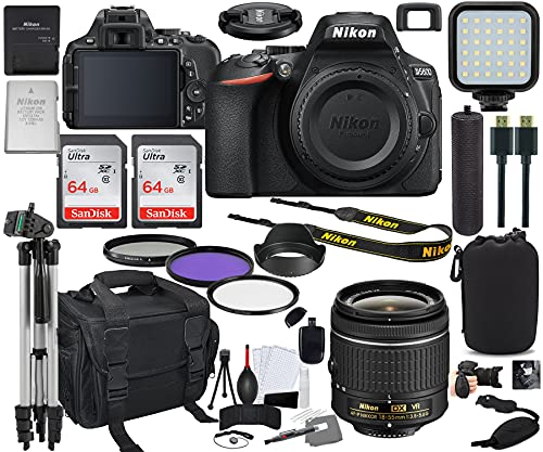 Nikon D5600 DSLR Camera with 18-55mm VR Lens Bundle (1576) + Prime Accessory Kit Including 128GB Memory, Light, Camera Case, Hand Grip & More