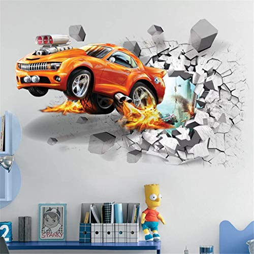 OFISSON Sport Car Break Through Wall 3D Wall Sticker Bedroom Playroom Removable Large Decal for Kids (Girls and Boys) Playroom (27,6'x19,7') (Car)