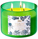 T&H Citronella Candles Outdoor Indoor Large Pure Soy Wax 3-Wick Scent Candle 80 Hour Burn 16 Ounces Highly Scented Long Lasting