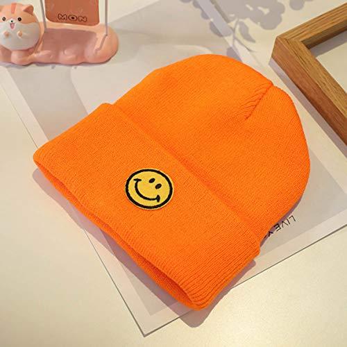 XINGSd Exquisite 2020 Herfst Baby Candy-Gekleurde Warme Coltrui Hoed Mode Caps Kinderen Geborduurde Smiley Casual Gebreide Wollen Hoeden