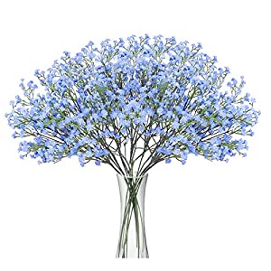 HONGER 10 Pcs Baby Breath Flowers Faux Artificial Gypsophila Bouquet Fake Silk Flower Real Touch Flower Bouquets Fake Real Touch Flowers for Wedding Party Home Decoration