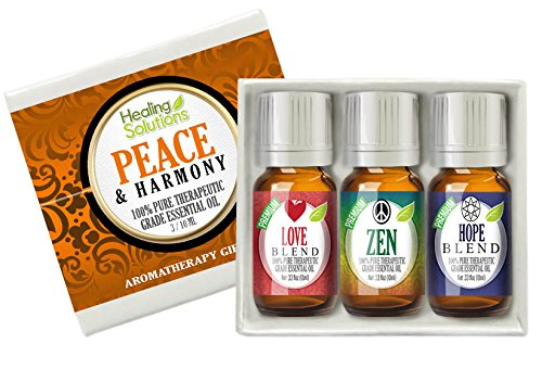 Healing Solutions Peace & Harmony Blends Set 100% Pure, Best Therapeutic Grade Essential Oil Kit - 3/10mL (Love, Hope, and Zen)