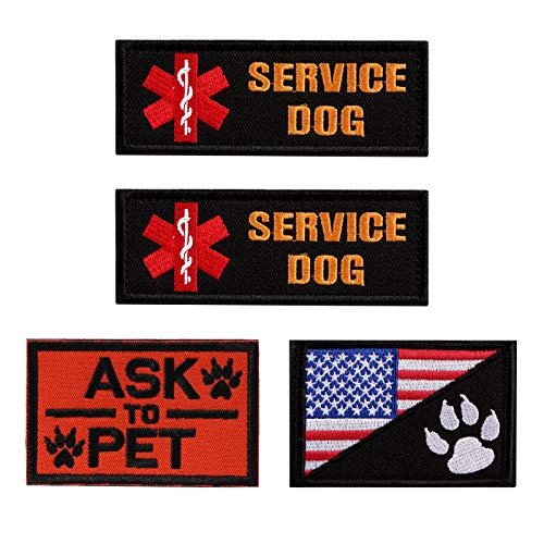Vevins Service Dog Patches for Vest - K9 in Training Hook and Loop Tag - Embroidered Morale Patches for Tactiacl Dog Harness Backpack