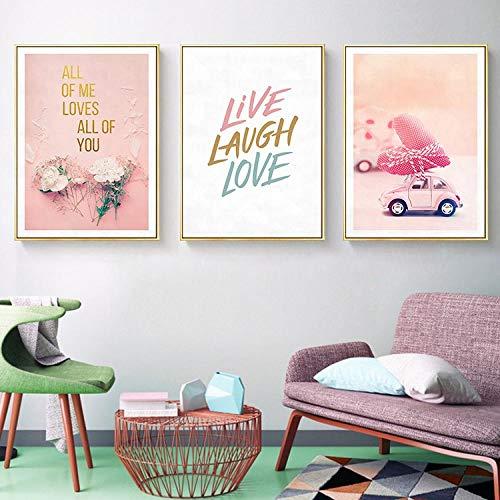 GJFKD Rosa Rose Calla Blumenauto Parfüm Zitat Plakate und Drucke Wandkunst Leinwand Malerei Wandbilder für Wohnzimmer Dekor-50x70cmx3 Stück kein Rahmen