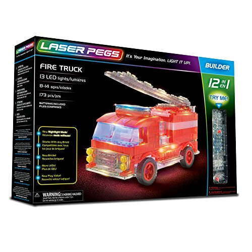 Laser Pegs Fire Truck 12-in-1 Building Set Building Kit; The First Lighted Construction Toy to Ignite Your Child's Creativity; It's Your Imagination, Light It Up