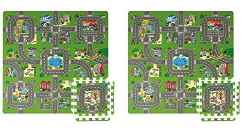 Meitoku Kit 2 Alfombras Puzzle de Goma EVA para niños. Diseño de Circuito de tráfico. 180 x 90 x 1 cm. 18 Piezas.
