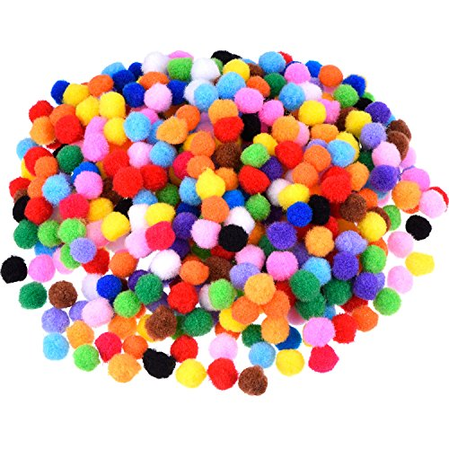 Pompons für Bastel- und Bastelbedarf, 500 Stück, 1,2 cm/ 0,5 Zoll (Mehrfarbig)
