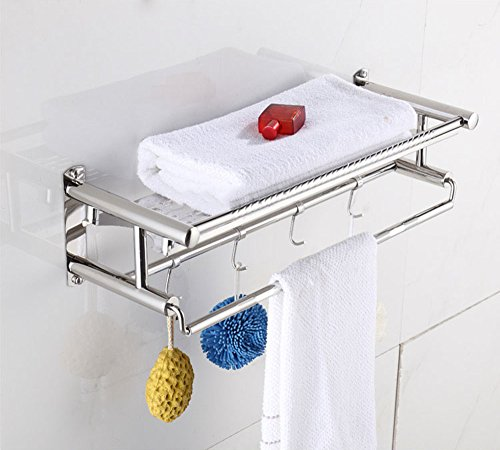 JIAHENGY Moderno Simple Perforado Acero Inoxidable Doble Palanca Engrosamiento Hardware Colgante baño WC Cocina de Pared, 40 cm Toalleros de Barra Toalleros repisa Toalleros de Gancho