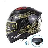 SYH Casque de Moto Bluetooth Talkie-Walkie Double Objectif HD Bluetooth Intercom Casque intégral pour extérieur Voyage,d'or,XL