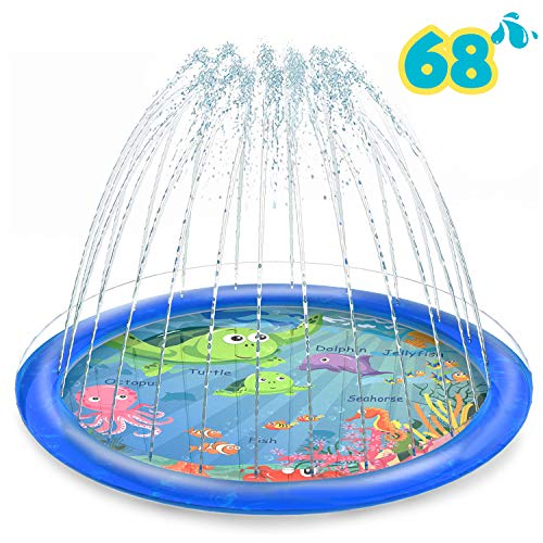 "Vmini Sprinkler for Kids, Splash Pad, and Wading Pool for Learning - Children's Sprinkler Pool, 68"" Inflatable Water Toys Outdoor Swimming Pool for Babies and Toddlers"