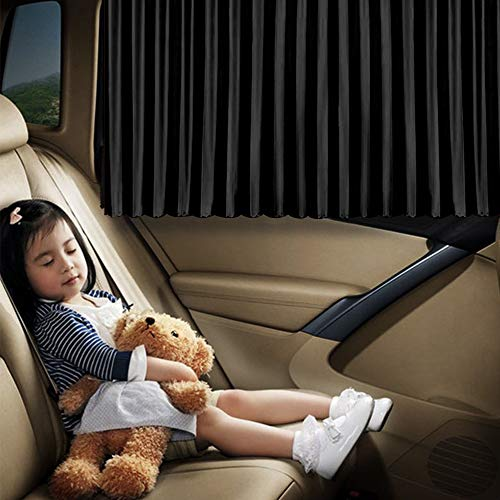 Ovege Car Window Shade -Car Side Window Sun Shade Car Curtain Pleated Silky UV Protection Privacy Baby Suction Magnetic(Black-Opaque, Back Seat 2pcs)