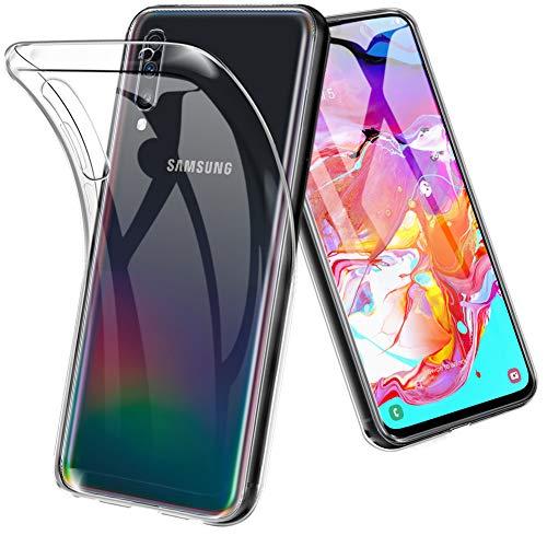 TOPACE Hülle für Samsung Galaxy A70, Ultra Schlank Softschale Silikon TPU Stoßfest Handyhülle Schutzhülle Anti-Fingerabdruck Shock Absorption Cover für Samsung Galaxy A70 (Transparent)