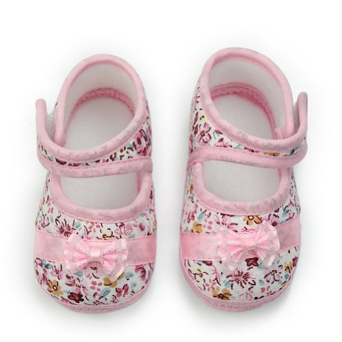 Pinzhi Chaussons à semelle souple en coton avec nœud décoratif Pour bébé fillette Rose