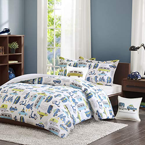 INK+IVY Kids Road Trip Twin Bedding White Blue, Car  3 Pieces Boy Set  100% Cotton Kid Childrens Bedroom Comforters, Multi