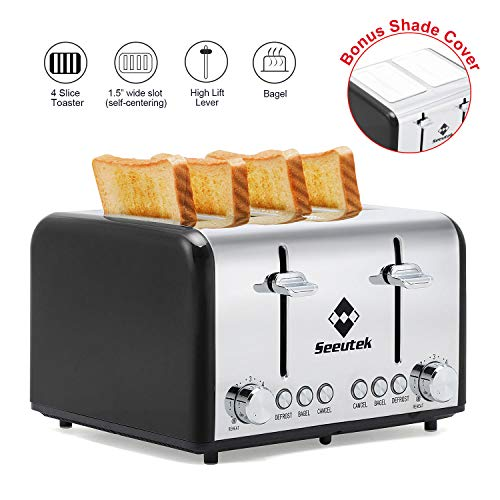 Toaster 4 Slice Extra Wide Slots Stainless Steel Toasters with Reheat Bagel Defrost Cancel Function, 6 Bread Shade Settings Removable...