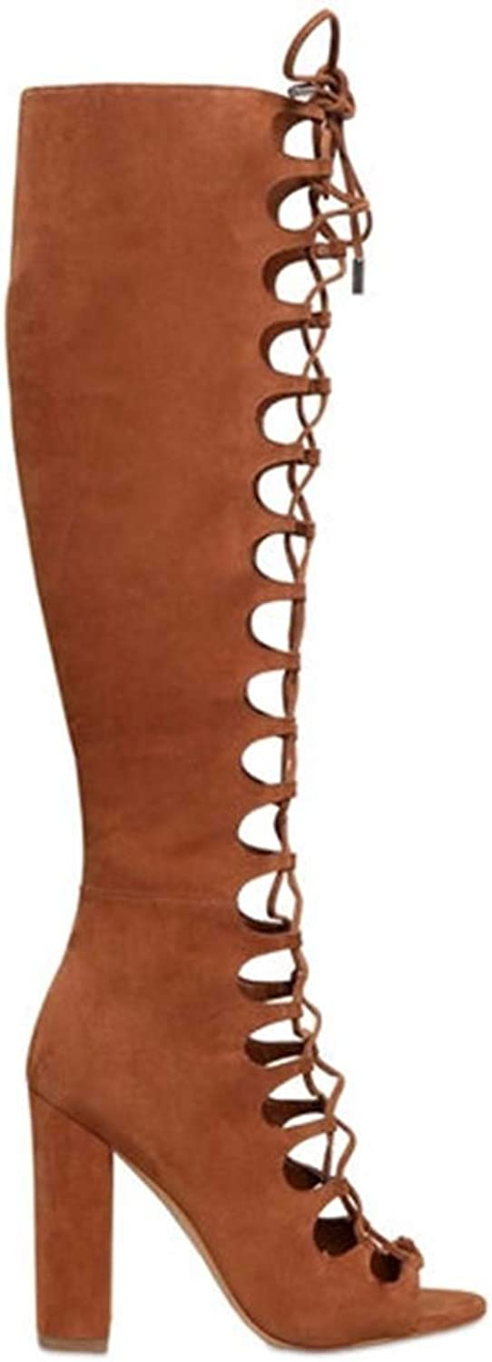 Cool Boots Women's shoes Open Toe Long Knee and Knee Boots Straps Thick Heel shoes
