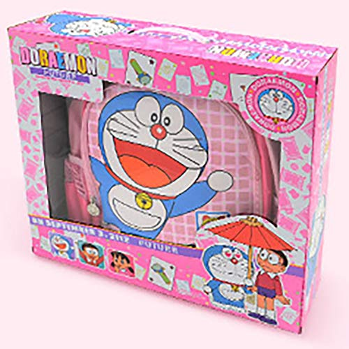 QYQS Doraemon schoolbag stationery spree, robot cat suit, student school supplies, lunch bag, birthday gift, blue, pink,Pink