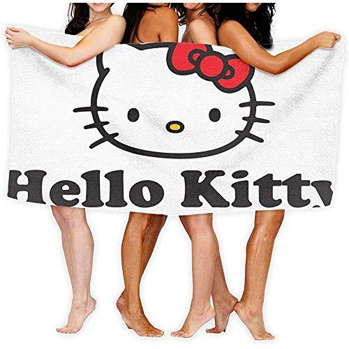 Lfff Hello Kitty Face Absorbente Suave y Ligero para baño Piscina Yoga Pilates Manta de Picnic Toallas de Microfibra 80cm * 130cm