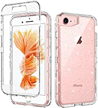 GUAGUA iPhone SE 2020 Case iPhone 8 Case iPhone 7 Case 4.7-inch Crystal Clear Glitter Bling Cover 3 in 1 Hybrid Hard PC Soft TPU Shockproof Protective Case for iPhone 8/7/SE 2020 -Transparent