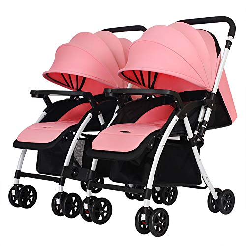 Poussettes JCOCO Chariot jumeau, de bébé, poignée Pliante réversible légère Peut s'asseoir et Se Coucher bébé Panier ( Color : Pink )