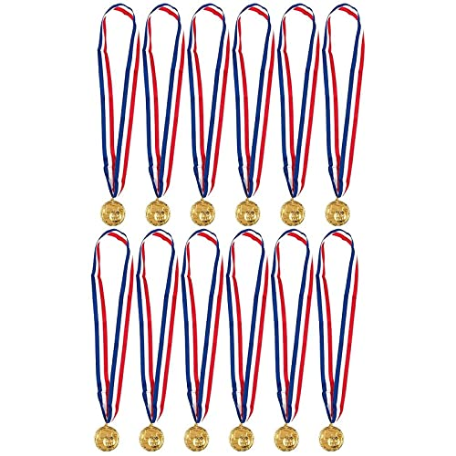 Juvale Award Medals with Ribbons for Kid's Sports Soccer Games (Gold, 12 Pack)