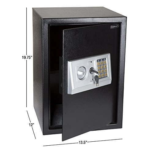 Stalwart Digital Safe-Electronic, Extra-Large, Steel, Keypad, 2 Manual Override Keys-Protect Money,...