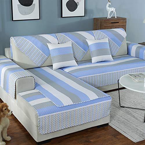 QSCV Fundas para Sofa Forma L La Funda para Sofa,Anti-resbalón Protector De Muebles para Perros Gatos Niños,Universal Chaise Longue Cubrir Protector De Muebles-Rayas Azules 90x120cm(35x47inch)
