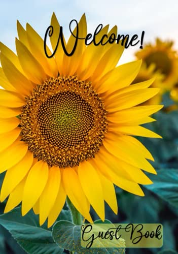 Guest Book Vacation Holiday Home Beach Guestbooks Sign In Log Book For Vacation Rentals, AirBnB, Bed & Breakfast, Beach House, Guest House: Hard Back ... For Holiday Visitors with Sunflower 110 pages