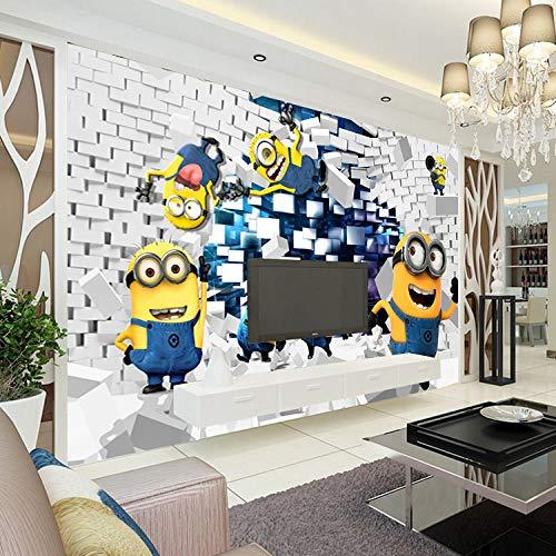 Lmqxyy Brauch 3D Seidentapete Wallpaper Minions Foto Cartoon Despicable Me Fototapete Seide Jungen Schlafzimmer Kinderzimmer Dekor Art Home Decoration Funny-200Cmx140Cm