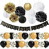 41 PCS Oro Negro Feliz Año Nuevo Decoraciones Set Feliz Año Nuevo Banner 12 pulgadas Látex Globos Pom Poms Flores Linternas de papel para la víspera de Año Nuevo Decoraciones para fiestas 2021