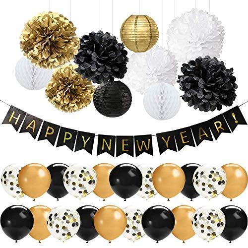 41 PCS Oro Negro Feliz Año Nuevo Decoraciones Set Feliz Año Nuevo Banner 12 pulgadas Látex Globos Pom Poms Flores Linternas de papel para la víspera de Año Nuevo Decoraciones para fiestas 2020