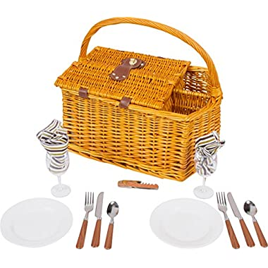 Trademark Innovations 17  Striped Lined Wicker Picnic Basket with Wineholder