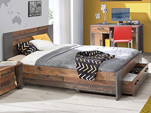 möbelando Bett Jugendbett Bettrahmen Einzelbett Bettgestell Bettanlage Holzbett Celon I 140 x 200 cm
