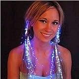 Scrox 10 PCS LED blinkende Haar helle Haarverlängerungen Faser optische Haar LED Braid Bunte...