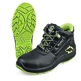 BWOLF SPYKE S3 - Zapatos de seguridad para hombre S3 impermeables, resistentes al aceite, antideslizantes con tecnología de agarre 4x4 con suela intercambiable ergonómica., negro y verde, 40 EU