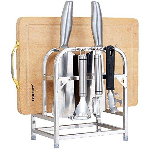HSJ 304 en acier inoxydable multi-fonction couteau porte cuisine couteau couteau cuisine planche à découper planche à découper outil étagère Panier à vaisselle