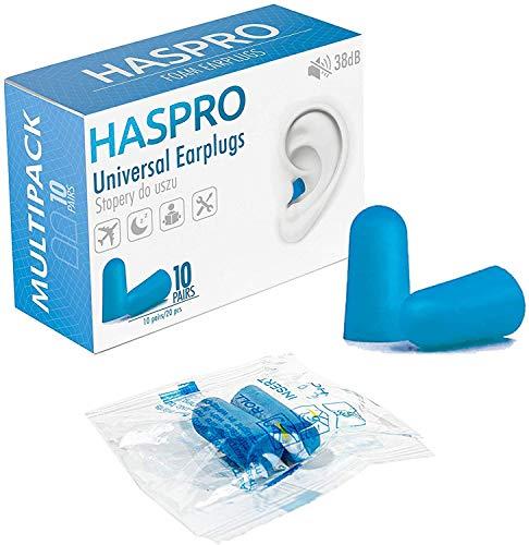 HASPRO Multi10 [Paquete de 10 pares] Tapones para los oídos de espuma súper suave, cada par empaquetados individualmente, Tapones para los oídos para dormir, tapones para los oídos para ronquidos