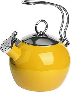 AIDEA Tea Kettle, 1.7 Quart Whistling Enamel Stainless Steel Teakettle Tea Pot for Stovetop Yellow