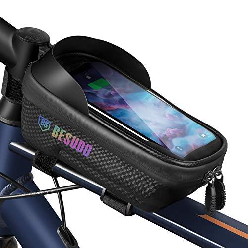 Besudo Bolsa para cuadro de bicicleta resistente al agua - Soporte para teléfono móvil ideal para la navegación - Bolsa para bicicleta - Bolsa para teléfono móvil - tubo superior de bicicleta