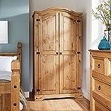 Home Source Corona Pine Wardrobe 2 Door Hanging Rail Shelf Solid Wood Waxed Bedroom