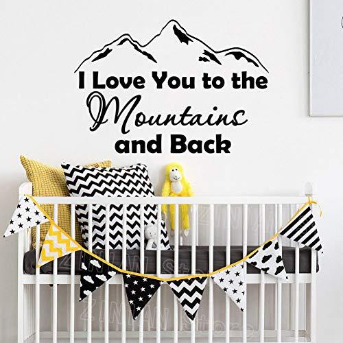 CHENXHU Calcomanía de pared con texto 'I Love You to The Mountains' y Back - Pegatina de vinilo extraíble para habitación de juegos para niños