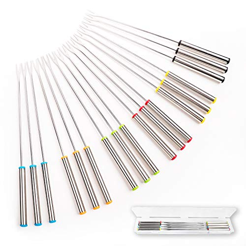"""GOODiTREE Set of 18 Stainless Steel Fondue Forks 9.5"""" with Storage Box"""