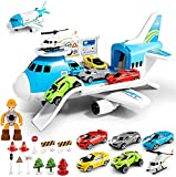 LOVE LIFE Airplane Toy Set Transport Cargo Plane Play Toy Gift for 3 4 5 6 Years Old Boys Girls Kids,Aircraft Vehicle Toys with 5 Mini Cars,Helicopter and Construction Worker