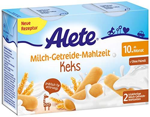 Alete Milch-Getreide-Mahlzeit Keks, praktisch für zuhause & unterwegs, mit viel Calcium, Vitamin C & Zink, ohne Palmöl, ab dem 10. Monat, 400 ml