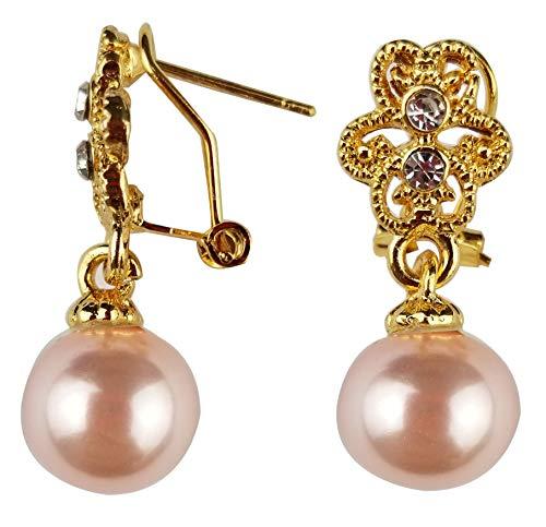 Skyllc Pendientes Colgantes de Boda Vintage con Gota de Perlas Rosadas y chapadas en Oro, Pendientes de Perlas para Mujeres, Damas de Honor, Novias