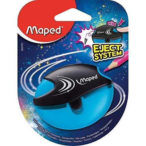 Maped - Taille-Crayon Galactic - 1 Trou - Taille-Crayon avec Réservoir + Éjecte-Mine - Coloris Bleu