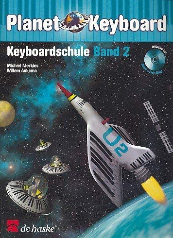 Planet Keyboard Band 2 - Keyboardschule mit CD von Michiel Merkies - mit bunter herzförmiger Notenklammer